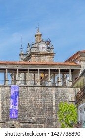 Cathedral of Viseu, Sé Cathedral de Viseu, D. Duarte plaza, renascence columns gallery , architectural icon of the city of Viseu, Portugal