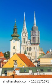 Cathedral in Zagreb, Croatia, view from Upper town