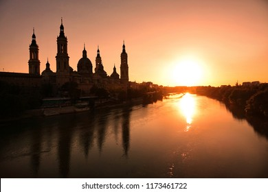 The Cathedral-Basilica of Our Lady of the Pillar and Ebor River at Sunset