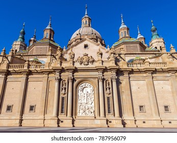 The Cathedral-Basilica of Our Lady of the Pillar - Roman Catholic Church, Zaragoza, Spain. Copy space for text