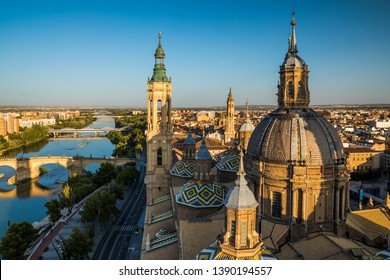 The Cathedral-Basilica of Our Lady of the Pillar at sunset. Zaragoza, Spain.