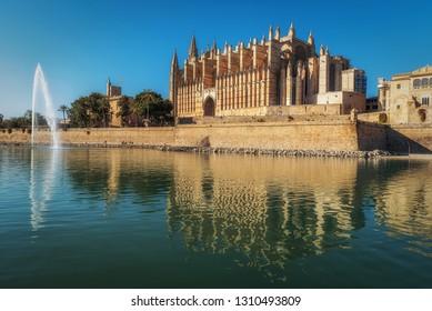 Catherdral La Seu in Palma de Mallorca during a sunny day