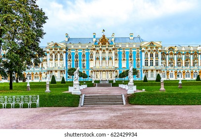 Catherine Castle Palace in Pushkin, Russia. Park garden at Catherine Great Palace in Pushkin, St Petersburg