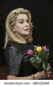 Catherine Deneuve attends the 'The Midwife' (Sage Femme) press conference during the 67th Film Festival Berlin at  Hyatt Hotel on February 14, 2017 in Berlin, Germany.