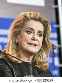 Catherine Deneuve attends the 'The Midwife' (Sage Femme) press conference during the 67th  Film Festival Berlin at Grand Hyatt Hotel on February 14, 2017 in Berlin, Germany.