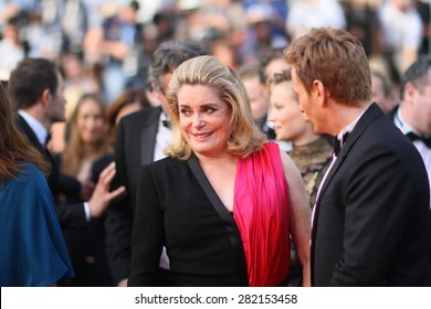 Catherine Deneuve and Benoit Magimel attend the opening ceremony and 'La Tete Haute' premiere during the 68th annual Cannes Film Festival on May 13, 2015 in Cannes, France.