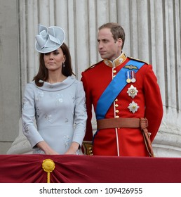 Catherine Duchess of Cambridge and Prince William attend the Trooping Of The Colour at Horse Guards Parade, London, UK. June 16, 2012, Picture: Catchlight Media / Featureflash