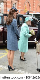 Catherine Duchess of Cambridge and Queen Elizabeth II arrive in Nottingham during the Royal Jubilee Tour. Nottingham, UK. June 13, 2012, Nottingham, UK Picture: Catchlight Media / Featureflash