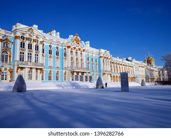 Catherine the Great's palace in the Saint Petersburg suburb of Pushkin (winter scenery)