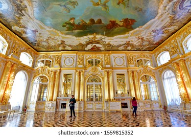 Catherine palace -April 17,2019 : a stunning interior of Catherine palace located in the town of Pushkin, 30 km. south of St. Petersburg, Russia.