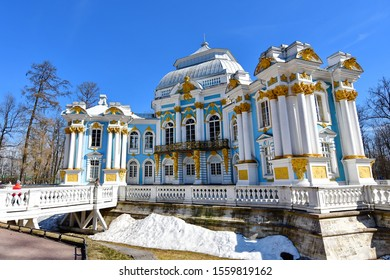Catherine palace -April 17,2019 : a stunning facade of Catherine palace located in the town of Pushkin, 30 km. south of St. Petersburg, Russia.
