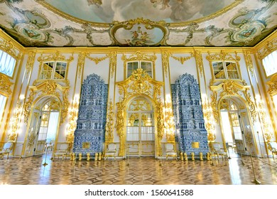 Catherine palace -April 17,2019 : a stunning interior inside Catherine palace located in the town of Pushkin, 30 km. south of St. Petersburg, Russia.