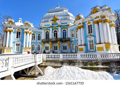 Catherine palace -April 17,2019 : a stunning exterior of Catherine palace located in the town of Pushkin, 30 km. south of St. Petersburg, Russia.