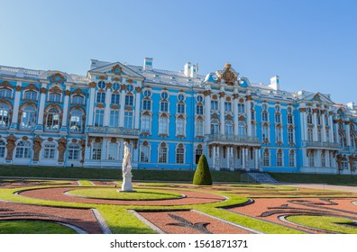 Catherine palace, August 28, 2019: a stunning of Catherine palace and gardens, the summer residence of the Russian tsars, located in Pavlovsk, south of St. Petersburg, Russia.
