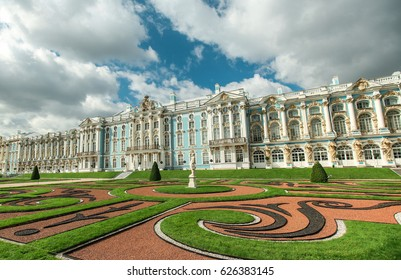 Catherine palace and Catherine park in Pushkin, Russia