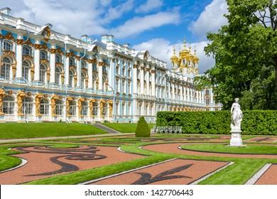 Catherine palace and park in Tsarskoe Selo (Pushkin), St. Petersburg, Russia