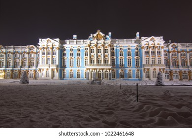 Catherine palace and park in winter an night, Tsarskoe Selo, St. Petersburg, Russia