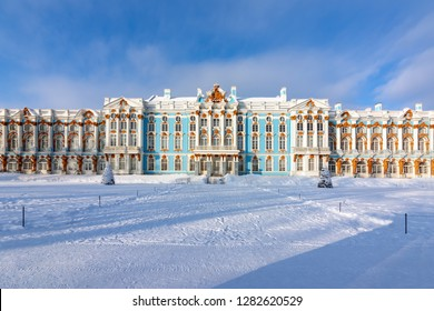 Catherine palace and park in winter, Tsarskoe Selo (Pushkin), St. Petersburg, Russia