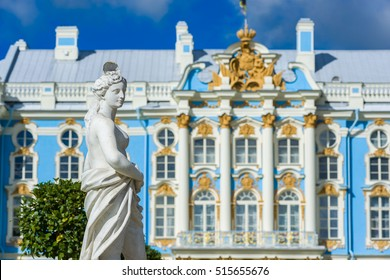 Catherine Palace in Pushkin is a rococo palace, summer residence of the tsar