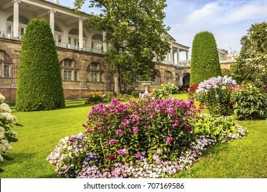 Catherine Palace in Tsarskoye Selo, State Museum-Preserve near Saint-Petersburg, Russia. Sunny summer day.