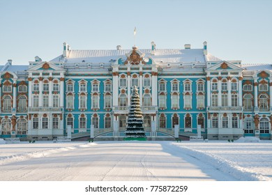 Catherine Palace in Tsarskoye Selo in the winter and a Christmas tree in front of the entrance, St. Petersburg, Russia