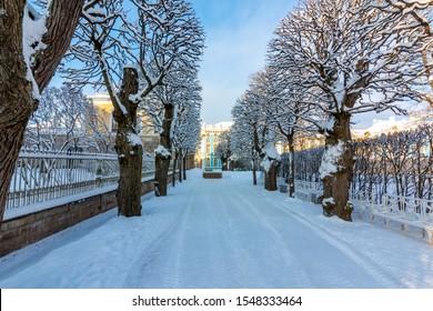 Catherine park in winter, Tsarskoe Selo (Pushkin), St. Petersburg, Russia