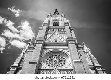 Catholic cathedral in the center of Novi Sad, Serbia, black and white photo