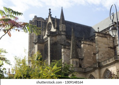 Catholic Cathedral in Limoges. Limousin flaming Gothic and Romanesque bell tower. different camera angles