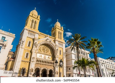 The catholic Cathedral of St Vincent de Paul at the Place de l'Independence in the Ville Nouvelle. Tunisia, Tunis.