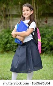 Catholic Child Girl Student Smiling With Notebooks