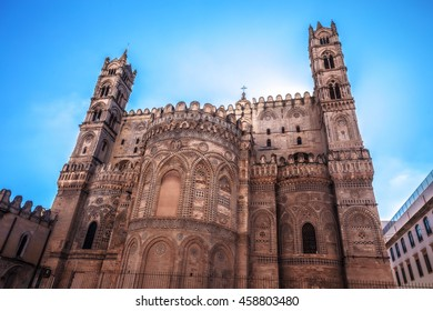 Catholic Christian Cathedral. Old Town of the City of Palermo on Sicily in Italy, Europe. Vibrant Colors. Detail Picture of the historical architecture