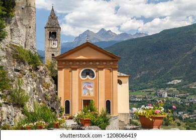 Catholic church above Saint-Pierre town, Aosta Valley, Italy