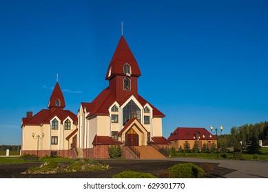 catholic church against the blue sky