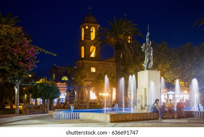 Catholic Church of Our Lady in Dolores with night illumination. Dolores, Soriano, Uruguay