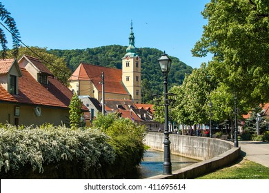 Catholic church and river in center of Samobor, town in northern Croatia