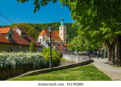 Catholic church and river in the center of Samobor, town in northern Croatia