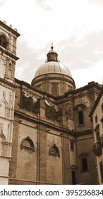 Catholic Church in the Sicilian City of Piazza Armerina, Vintage Style Sepia