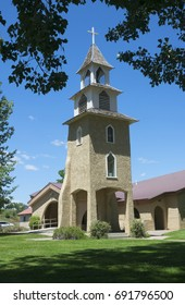 A Catholic church steeple in Ignacio, CO