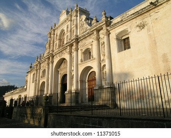 Catholic Church with sunset light in Antigua City, Guatemala with