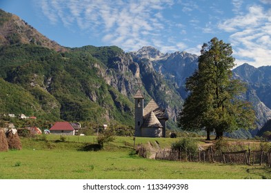 Catholic church of Theth. Albanian Alps (Prokletije or Accursed Mountains). Scenic high terrain during autumn. Albania, Shkoder County, Theth National Park