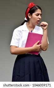 Catholic Colombian Girl Student Poor Health Wearing Uniform