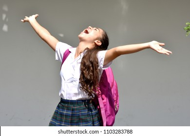 Catholic Colombian Student Teenager School Girl And Freedom