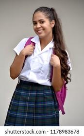 Catholic Colombian Student Teenager School Girl Portrait Wearing School Uniform
