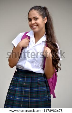 268c5c1d170 Catholic Colombian Student Teenager School Girl Portrait Wearing School  Uniform