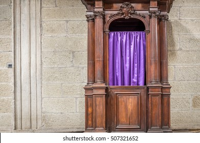 Catholic confessional booth or box in a church