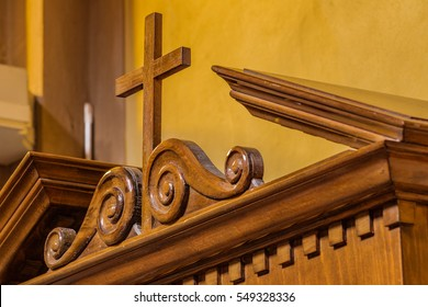 Catholic Cross  on wooden confessional