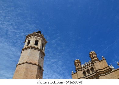 Catholic gothic medieval cathedral church in Castellon de la Plana - spanish town near Valencia, travel photo from spain