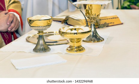 Catholic religious ceremony of Eucharist - selective focus