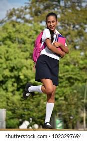 Catholic School Girl Having Fun Wearing School Uniform