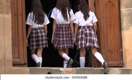 Catholic School Girls Enter And Leave Church